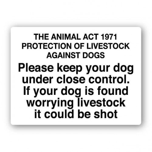The Animal Act 1971 Protection Of Livestock Sign
