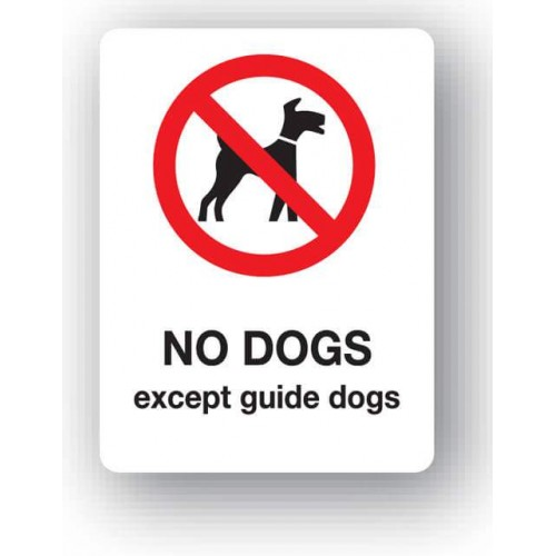 No Dogs - Except Guide Dogs Sign