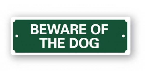 Beware of the dog sign 200x65mm