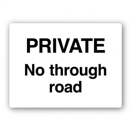 Private No Through Road Sign