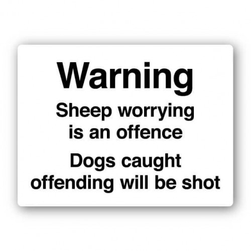 Sheep Worrying Is An Offence Sign
