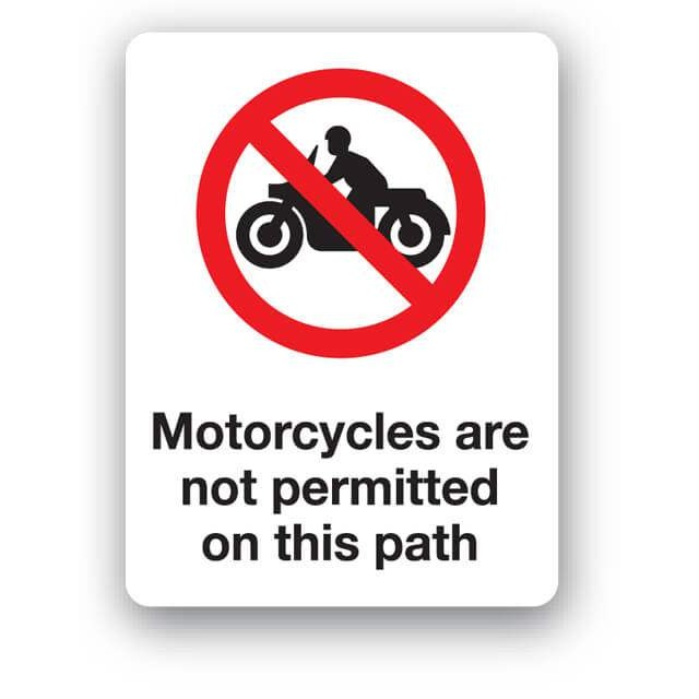 E88bp Motorcycles Are Not Permitted On This Path Sign