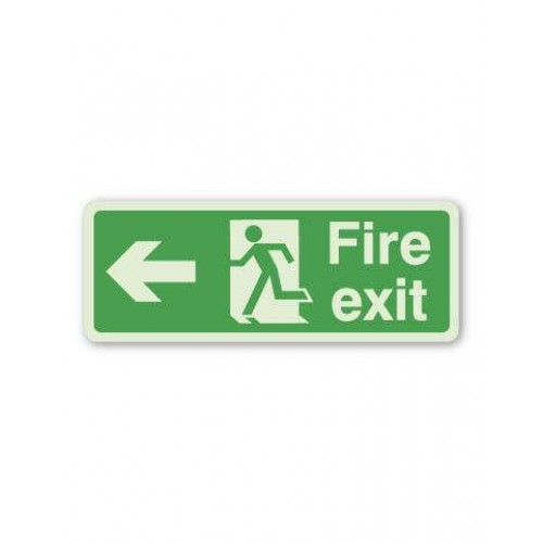 Fire Exit Sign - Arrow Left (Photoluminescent)