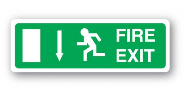 Fire Exit Sign Arrow Down 140x400mm