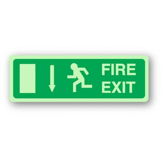 UK compliant fire exit sign with a down arrow to display above a fire exit door - Photoluminescent
