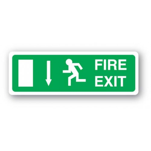Fire Exit Sign - Arrow Down (Vinyl)