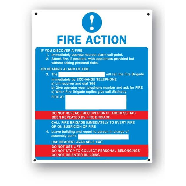 Fire Action Sign General Farm Signs