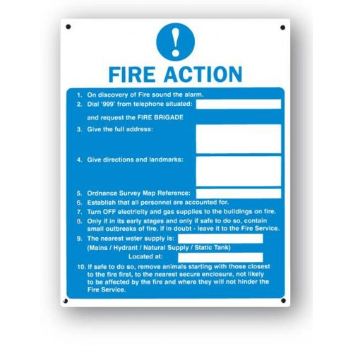 Fire Action Sign (Farm & Livestock)