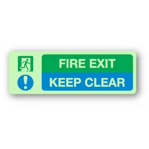 Fire Exit - Keep Clear Sign (Photoluminescent)