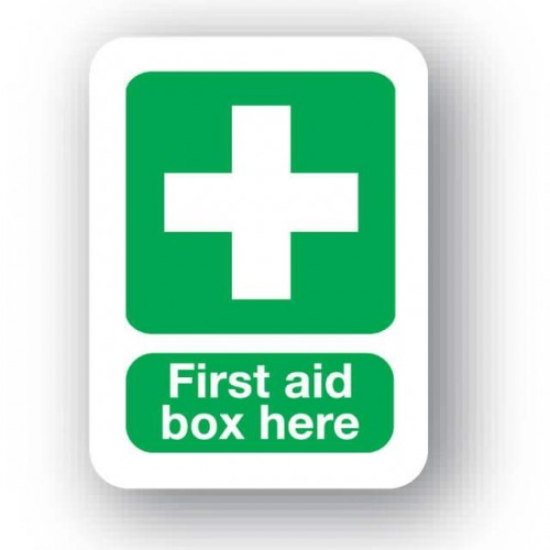 First Aid Box Here Sign