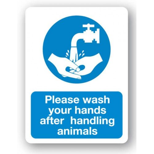 Please Wash Your Hands After Handling Animals Sign