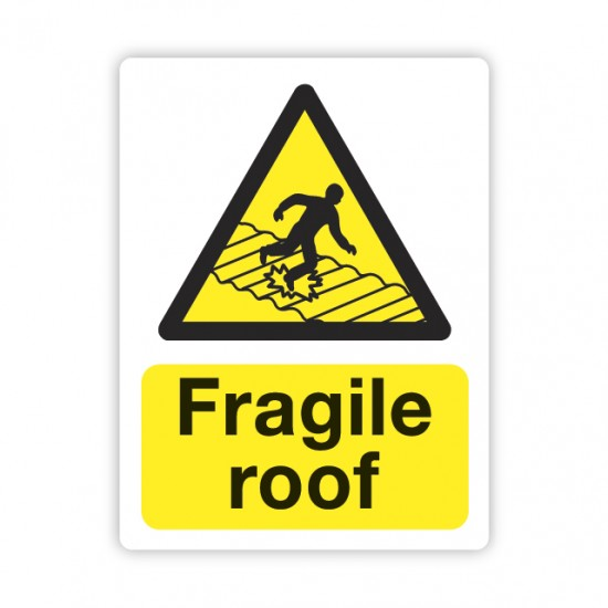 Fragile Roof sign self-adhesive