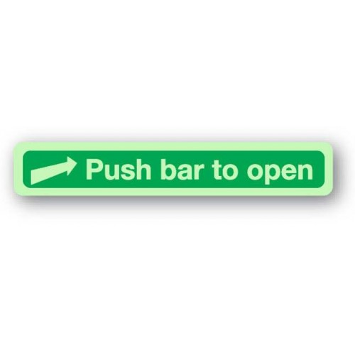 Push Bar To Open Sign (Photoluminescent)