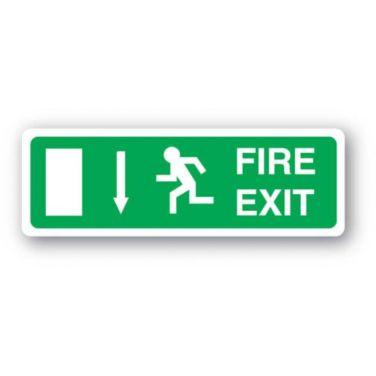 UK compliant fire exit sign with a down arrow to display above a fire exit door