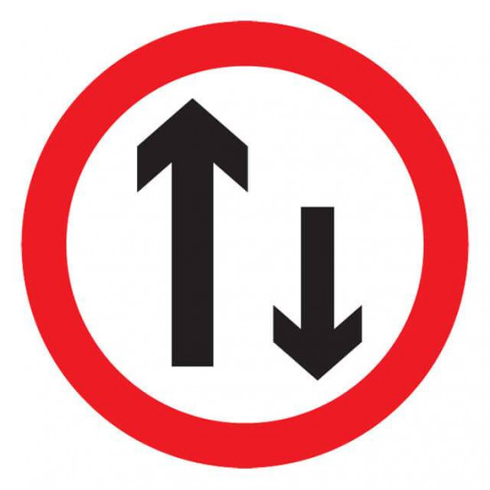 Two-Way Traffic Ahead Sign