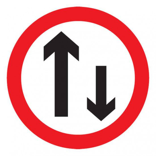Two-Way Traffic Ahead Reflective Sign.