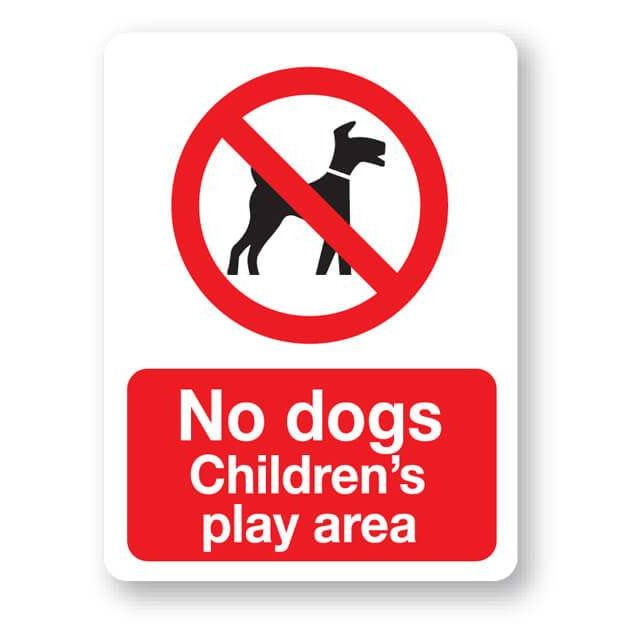 p25bp no dogs childrens play area sign