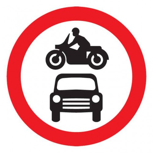No Motor Vehicles Sign
