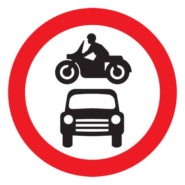 T11ep No Motor Vehicles Sign