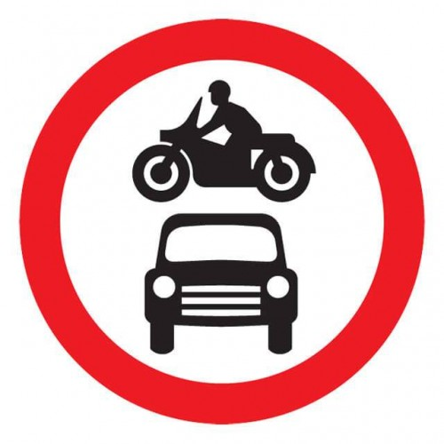 No Motor Vehicles Reflective Sign