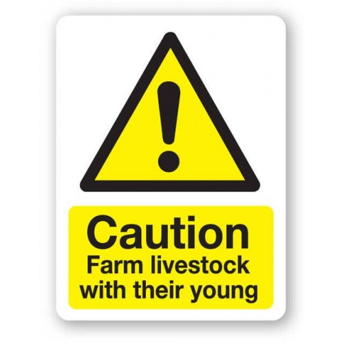 Caution - Farm Livestock With Their Young Sign