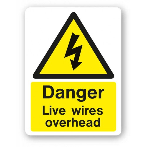 Danger - Live Wires Overhead Sign