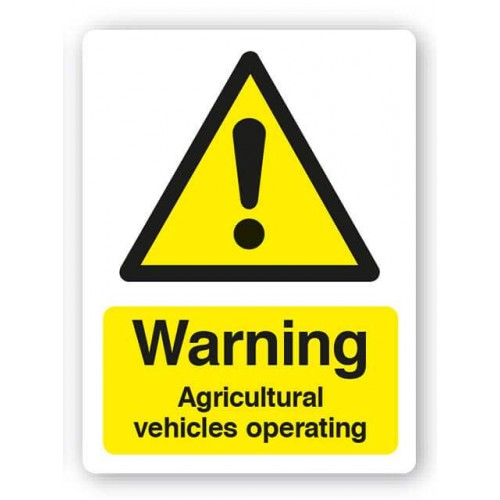 Warning - Agricultural Vehicles Operating Sign