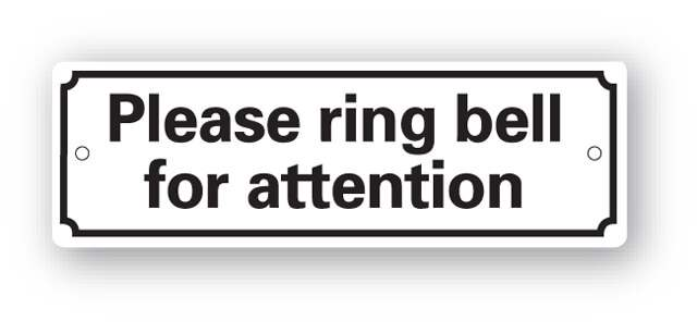 Ring Bell For Attention Sign