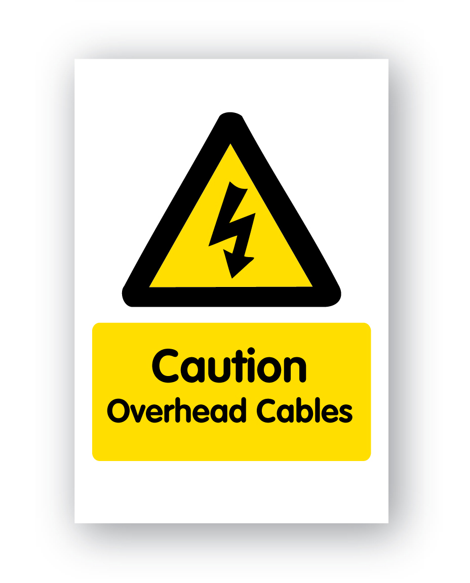 Caution Overhead Cables Sign 400x600mm