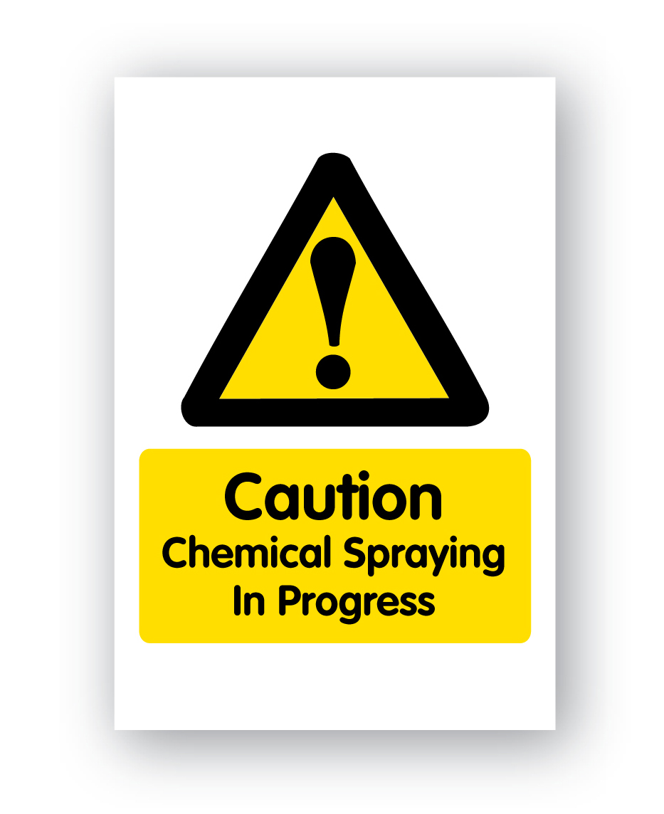 Caution Chemical Spraying In Progress Sign 400x600mm