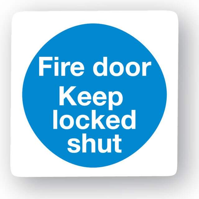 M19mv Fire Door Keep Locked Shut Sign