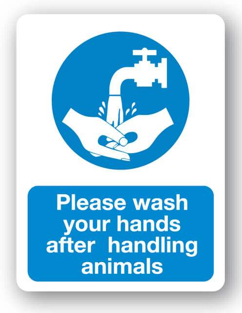 m66bp please wash your hands after handling animals sign