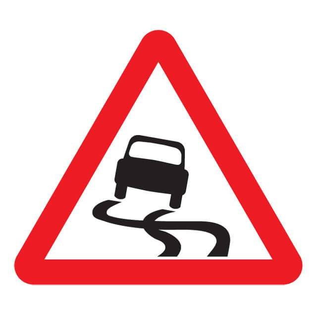 T17ep slippery road sign for De signs