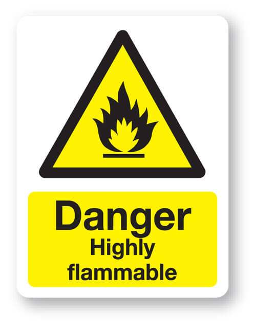 Danger Highly Flammable Sign 300x400mm