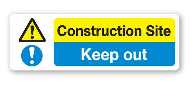 Construction Site Keep Out Sign 600x200mm